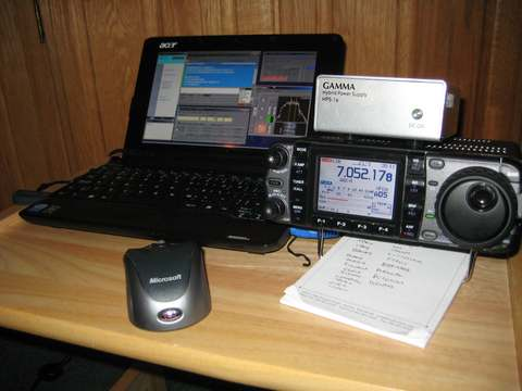 Holiday 'shack' setup with my Acer Netbook. Running RTTY with N1MM during the 2010 ARRL RTTY RU.