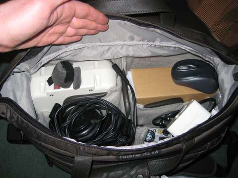 Shack in a Bag : (clockwise from top left) Icom AH-4, Icom IC-7000, Gamma Research HPS-1a, headset/mic etc.